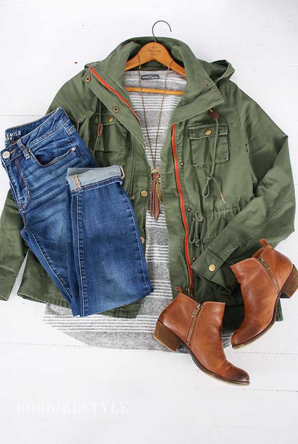 Army Jacket Booties Outfit Idea