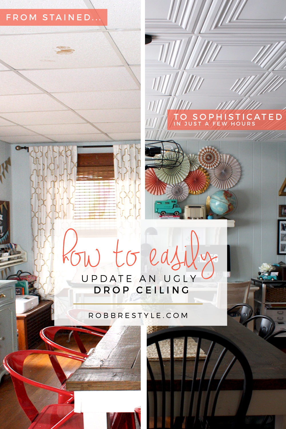 How to easily update your ugly tile ceiling