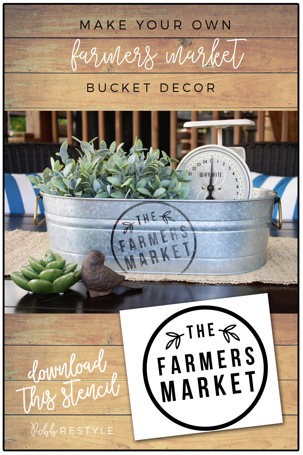How to make farmers market bucket decor