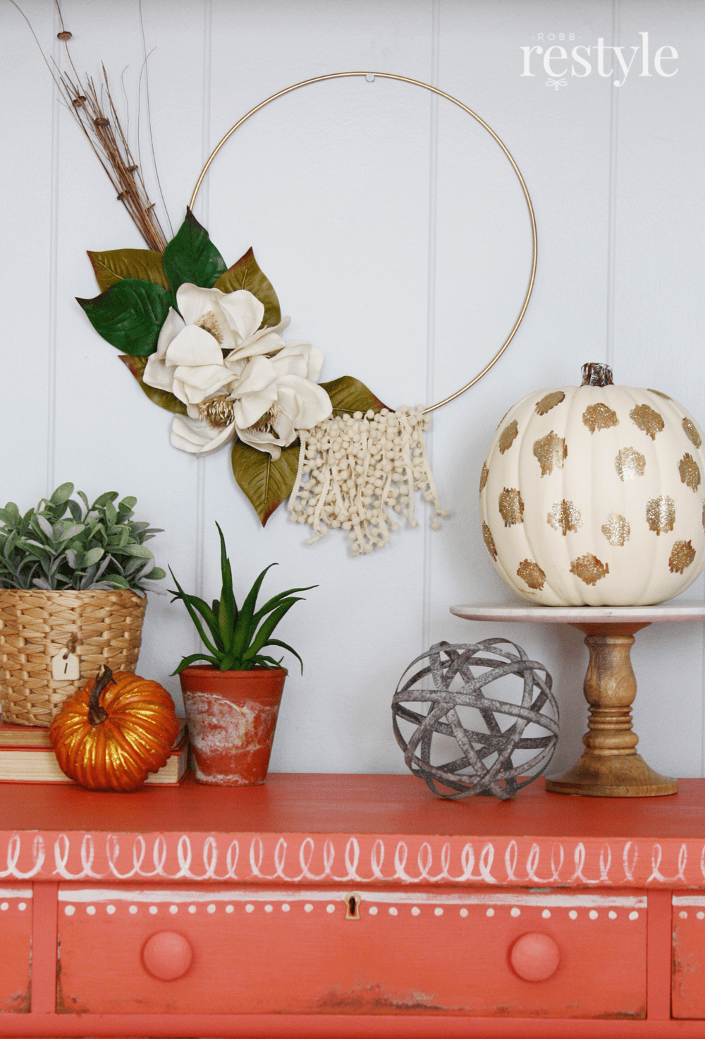 How To Make Fall Hoop Wreath