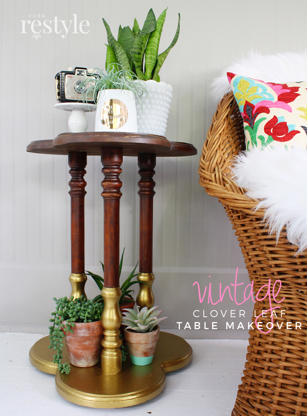 DIY Vintage Clover Leaf Mid Century Table Makeover