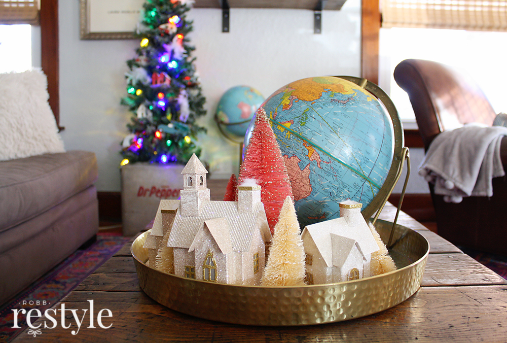 Vintage Holiday Globe Tray