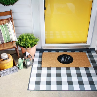 DIY Painted Buffalo Check Layered Doormat