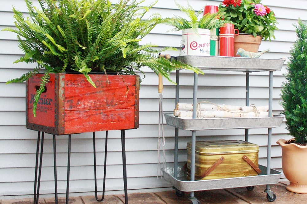 Repurpose Vintage Beverage Box into a Chic Outdoor Planter with Hairpin Legs