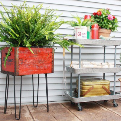 Repurpose a Vintage Box with Hairpin Legs