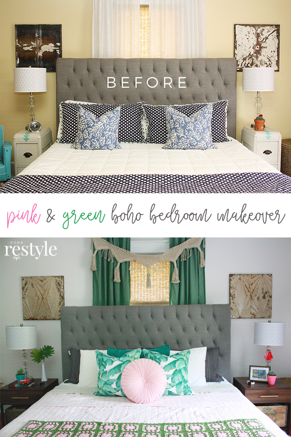 Pink Amp Green Boho Bedroom Makeover Robb Restyle
