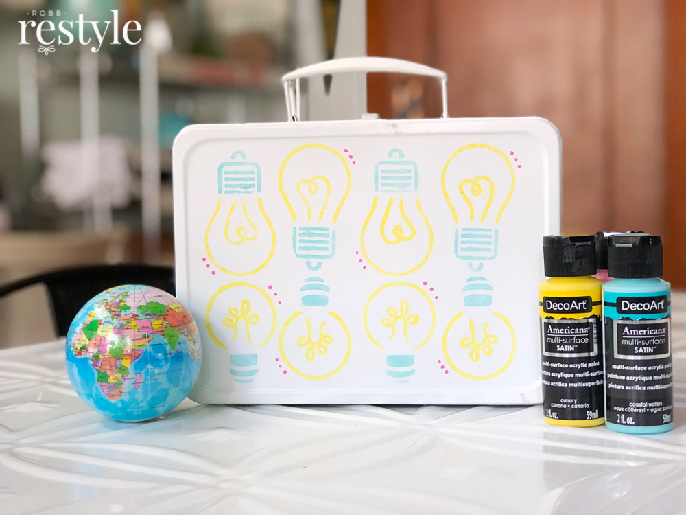 DIY Upcycle Vintage Metal Lunch Box into School Art Box
