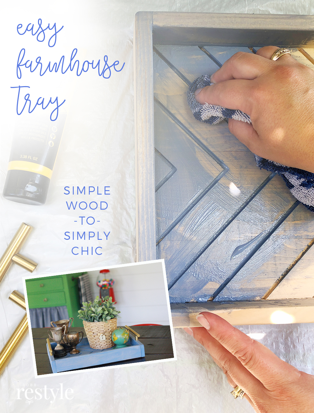 Easy DIY Farmhouse Tray - Blue and Green Color Palette