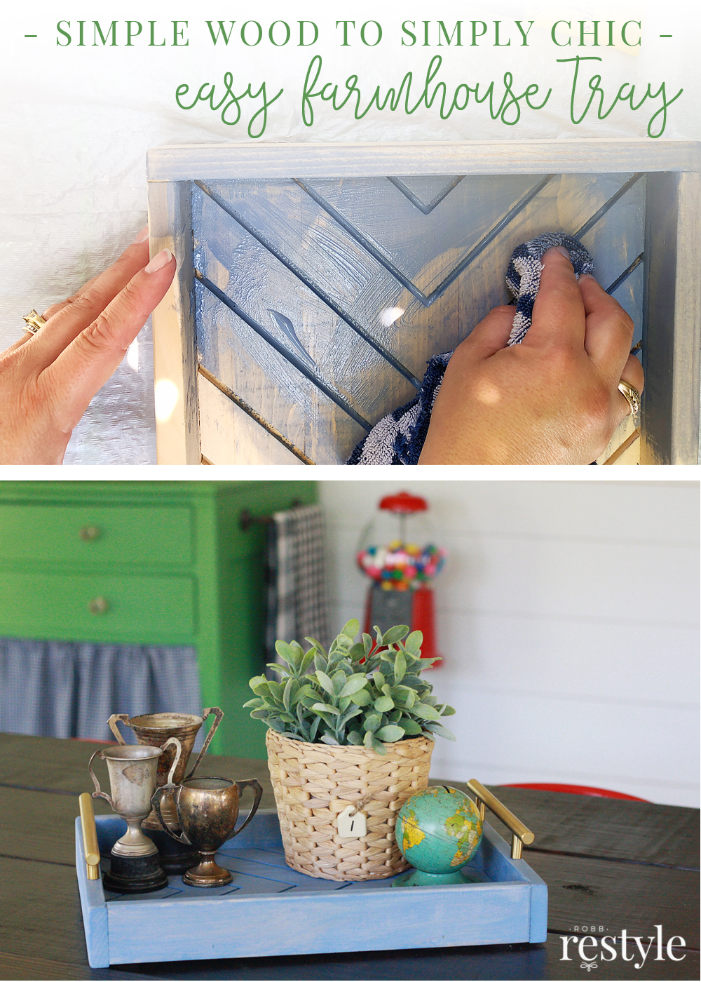 Create a cute wooden tray with farmhouse style vibes. This easy DIY project uses my favorite shade of color stain and some leftover hardware.