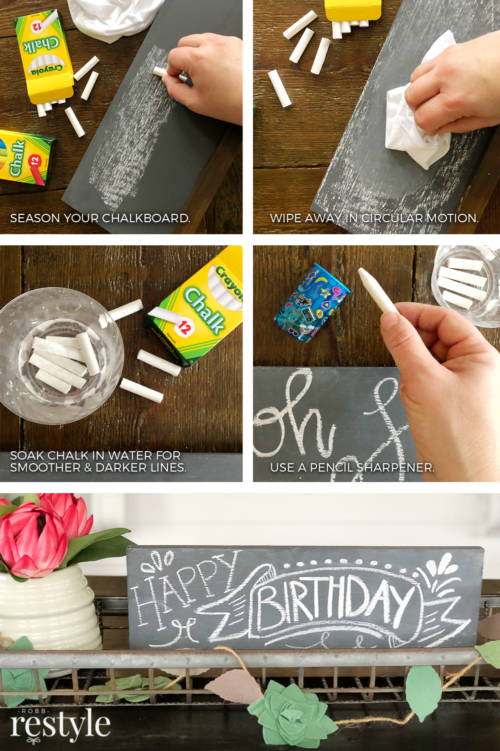 How to season a chalkboard.