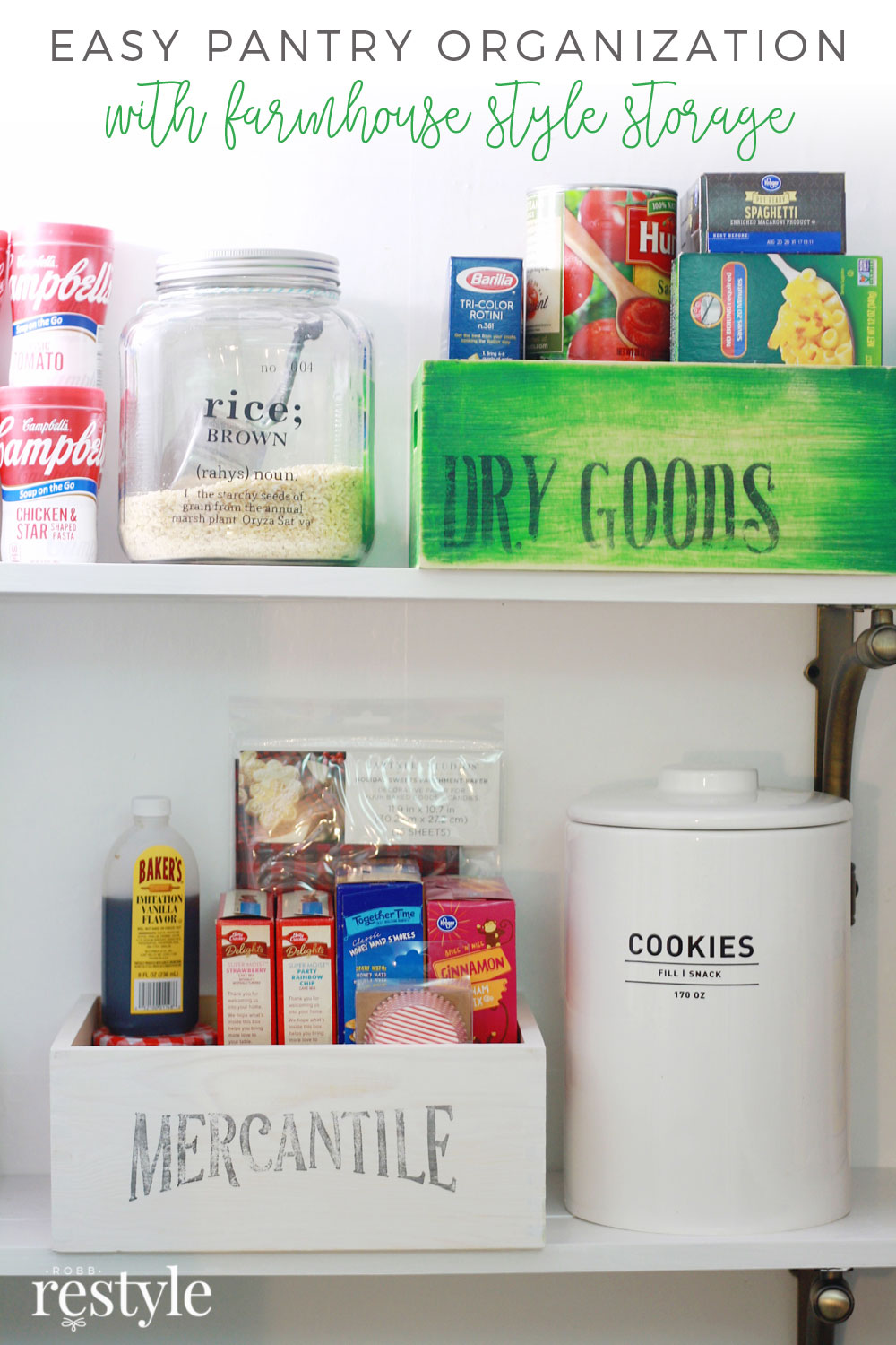 Easy Farmhouse Style Pantry Storage