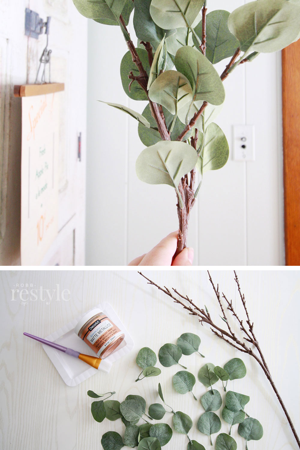 How to paint faux eucalyptus matte rose gold for fall