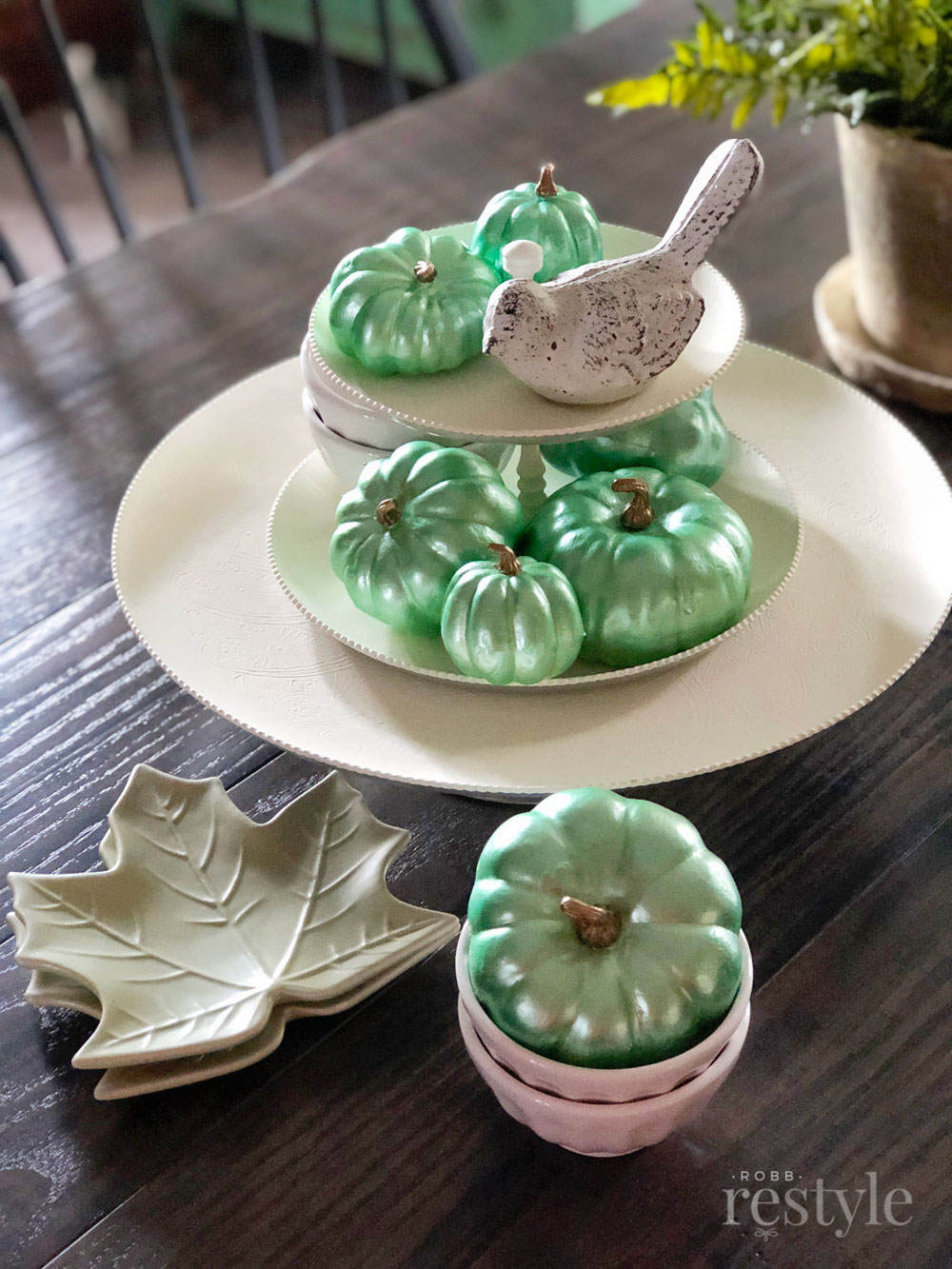 Jade Green Pumpkin Decor