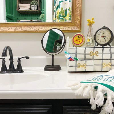 DIY Countertop Bathroom Organizer