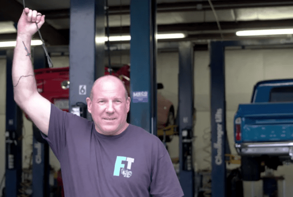 Owner of Frost opening up his garage.