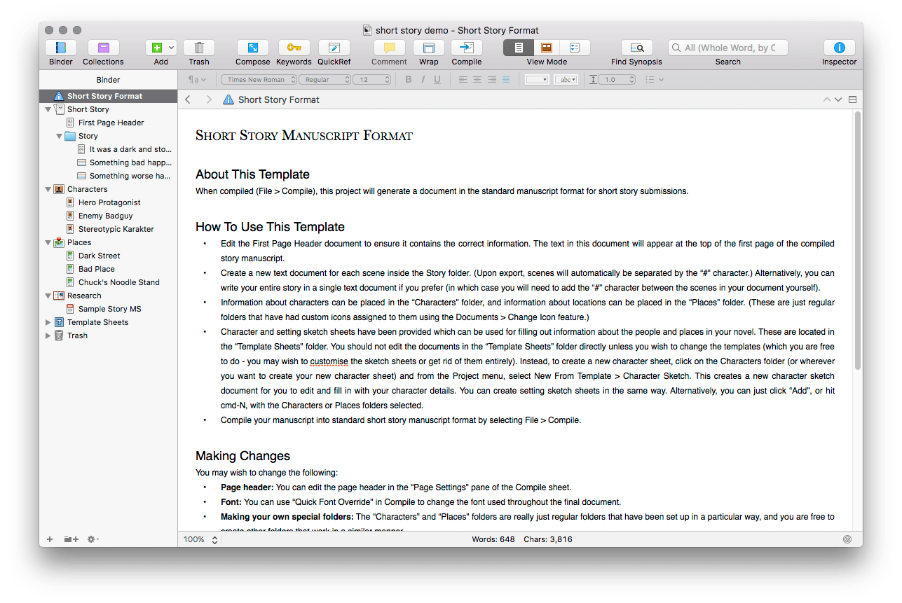 writing with scrivener part 1