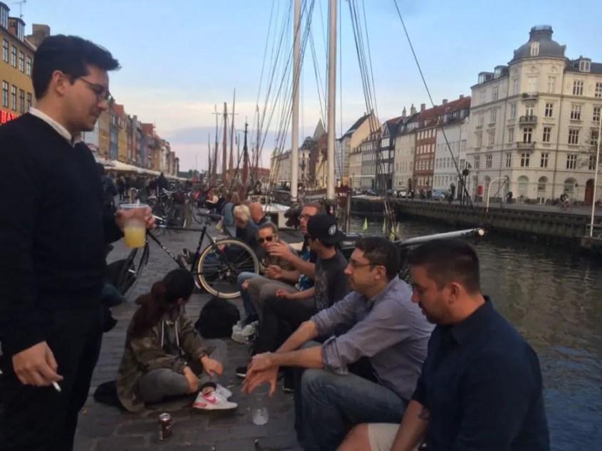 Sitting outside on Nyhavn Harbor in Copenhagen
