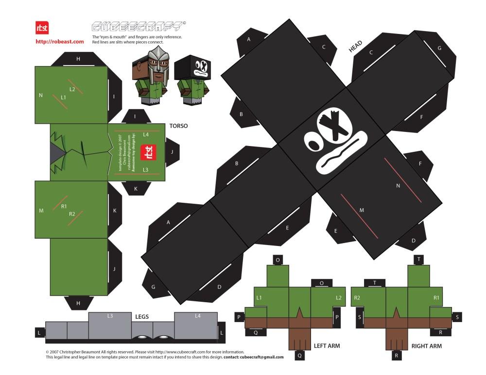 Papercraft: RBST x Cubeecraft MF DOOM (KMD) w/Removable Mask (5/6)