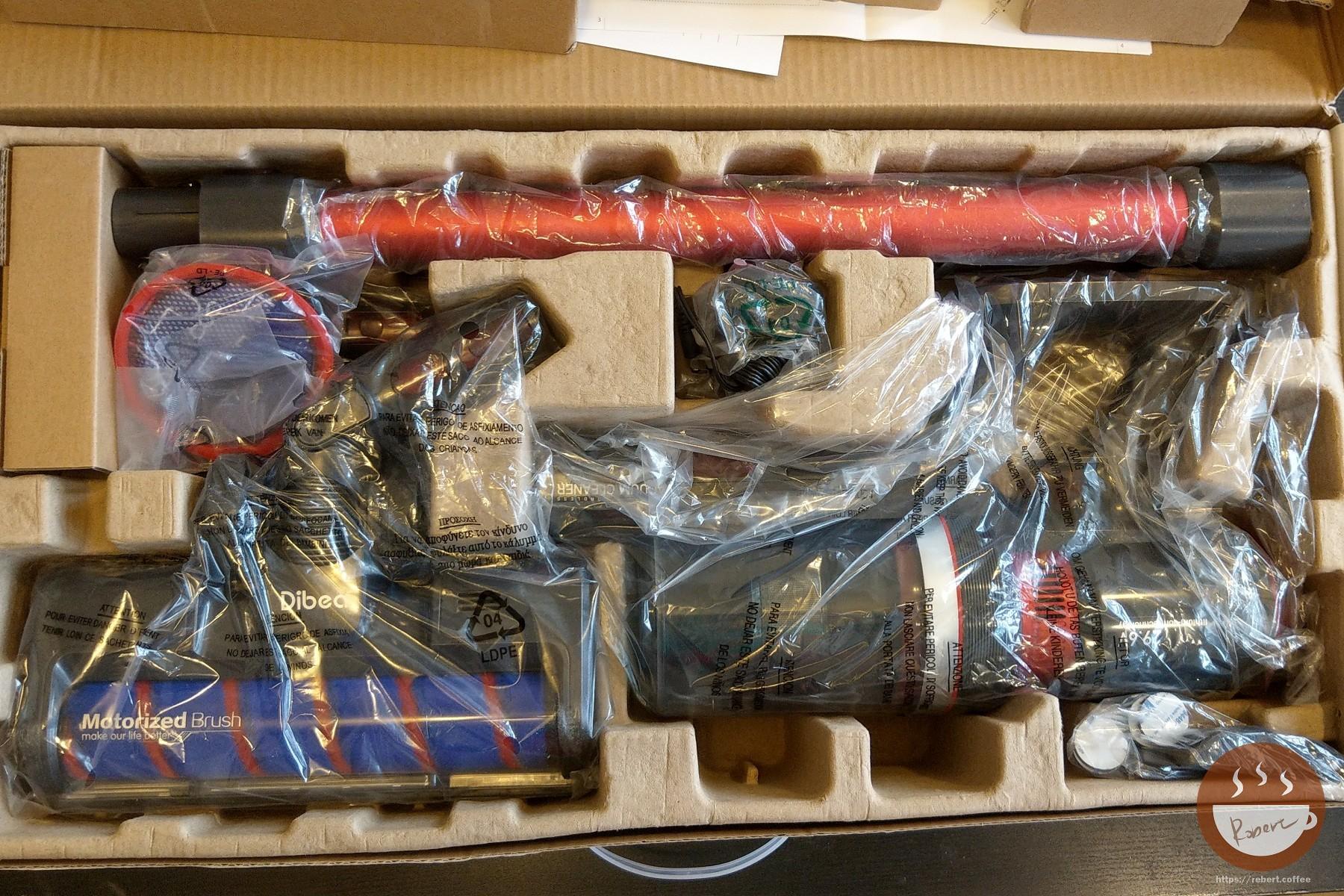 Dibea f20 max 開箱,每個項目都有使用塑膠袋保護