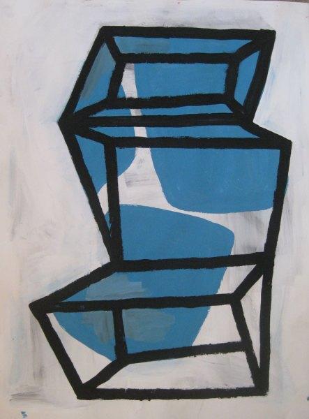 """Robert Egert, Forms#2, tempera on paper, approx. 27"""" x 32"""", 2011-2012"""