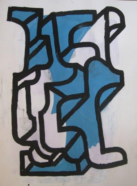"""Robert Egert, Forms #3, tempera on paper, approx. 27"""" x 32"""", 2011-2012"""