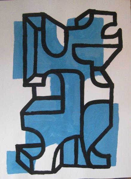 """Robert Egert, Forms #4, tempera on paper, approx. 27"""" x 32"""", 2011-2012"""