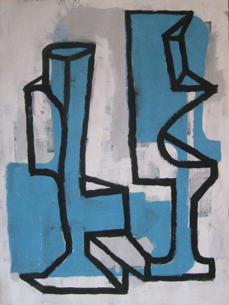 """Robert Egert, Forms #6, tempera on paper, approx. 27"""" x 32"""", 2011-2012"""