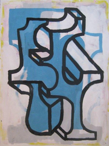 """Robert Egert, Forms #8, tempera on paper, approx. 27"""" x 32"""", 2011-2012"""