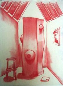 "Robert Egert, Unbuilt: Window Conté on paper, 23"" x 32"", 2008"