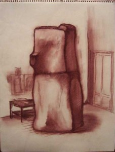 "Robert Egert, Unbuilt: Fridge, Conté on paper, 23"" x 32"", 2008"