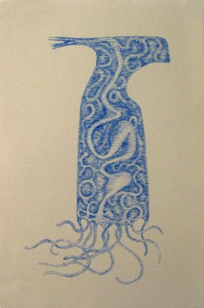 "Robert Egert, Sigil, blue conté on printmaking paper, August 2012, LIC studio, 11"" x 17"""