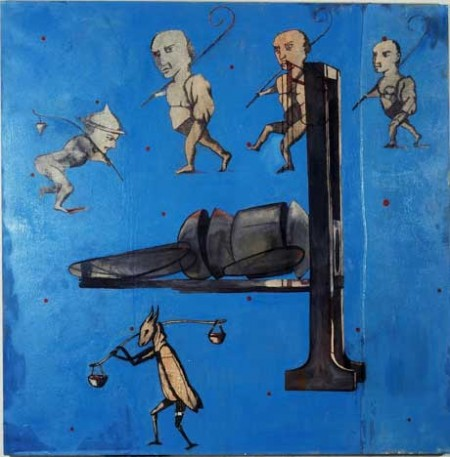 """Dwarf Puppet Execution by Guilotine; Oil and embedded charcoal on canvas, approx. 42"""" x 42"""" circa 1991 Robert Egert"""