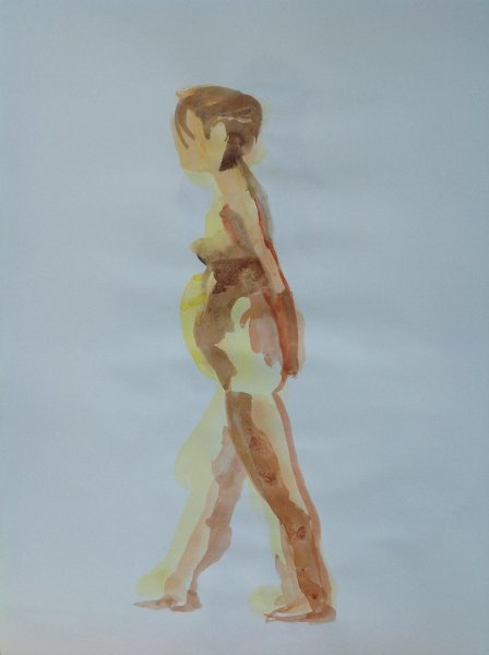 Woman Seen from Side, Arms Clasped Behind