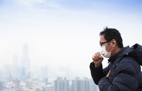 Lung cancer patients with smog city background