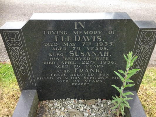 Headstone of Eli, Susannah and Frank Davis in Alfreton Cemetery, 2016.