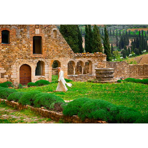 Priest at Abbey, Umbria, Italy
