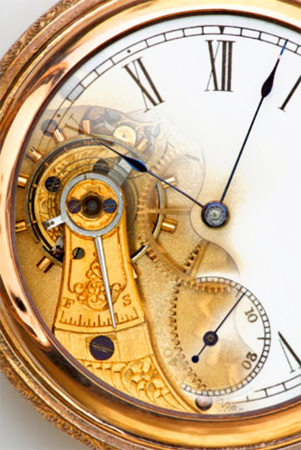 gold pocketwatch, cut-away gears