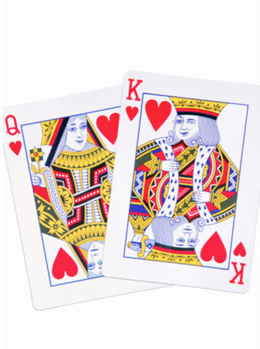 playing cards, winking king of hearts, queen
