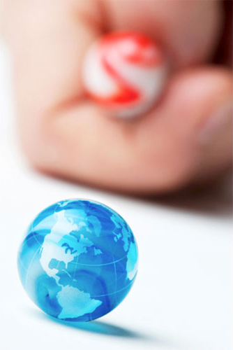 child's marbles, globe, hand