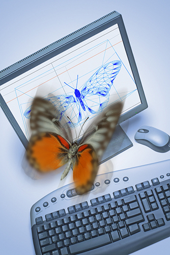 butterfly flying over computer generated image