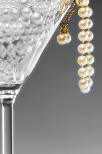 pears, necklace, earings, champagne glass