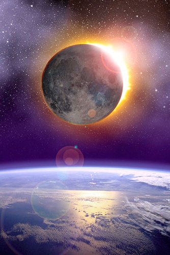 solar eclipse, moon, sun, NASA photo of earth