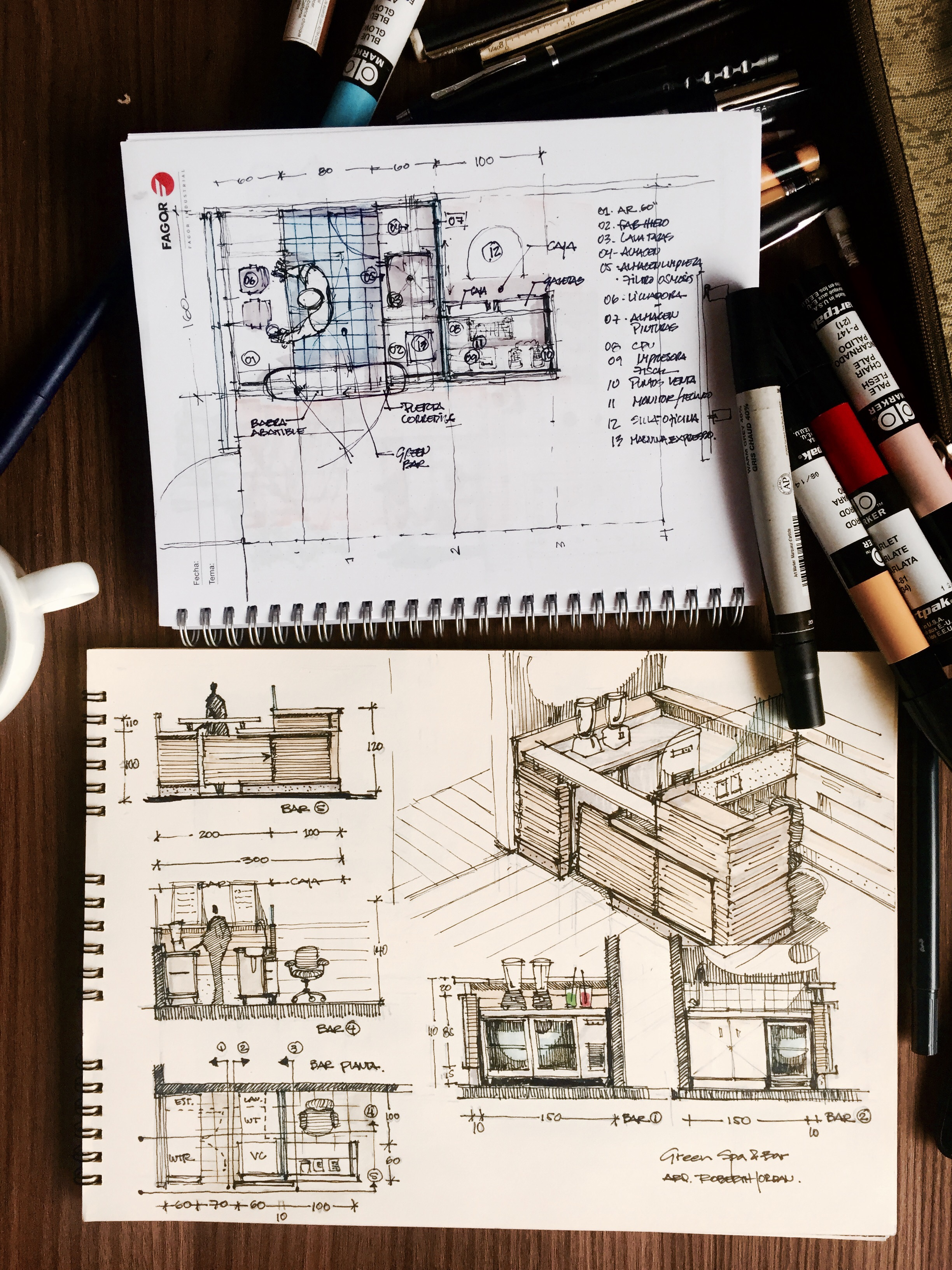 Two sketchbooks with markers showing furniture design sketches