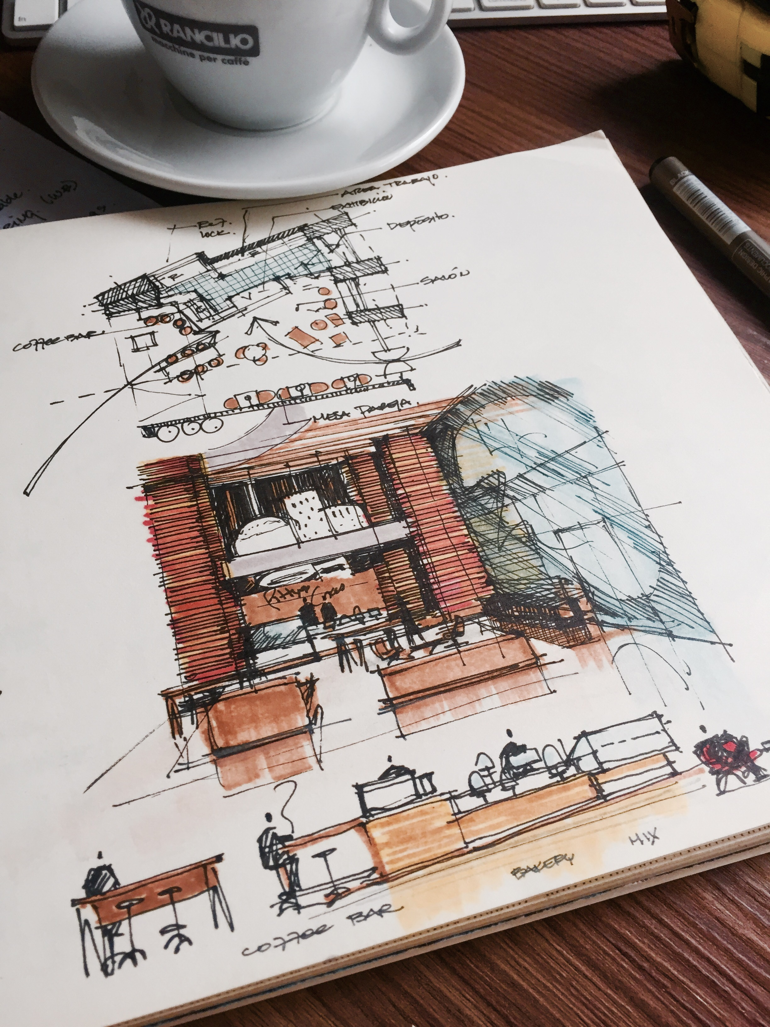 Sketchbook over desk with cup of coffee. Bakery Shop Design Sketches