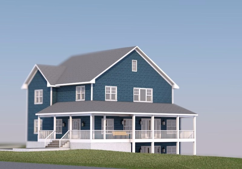 House at a Golf Club - 2 Floor Farmhouse 3D view