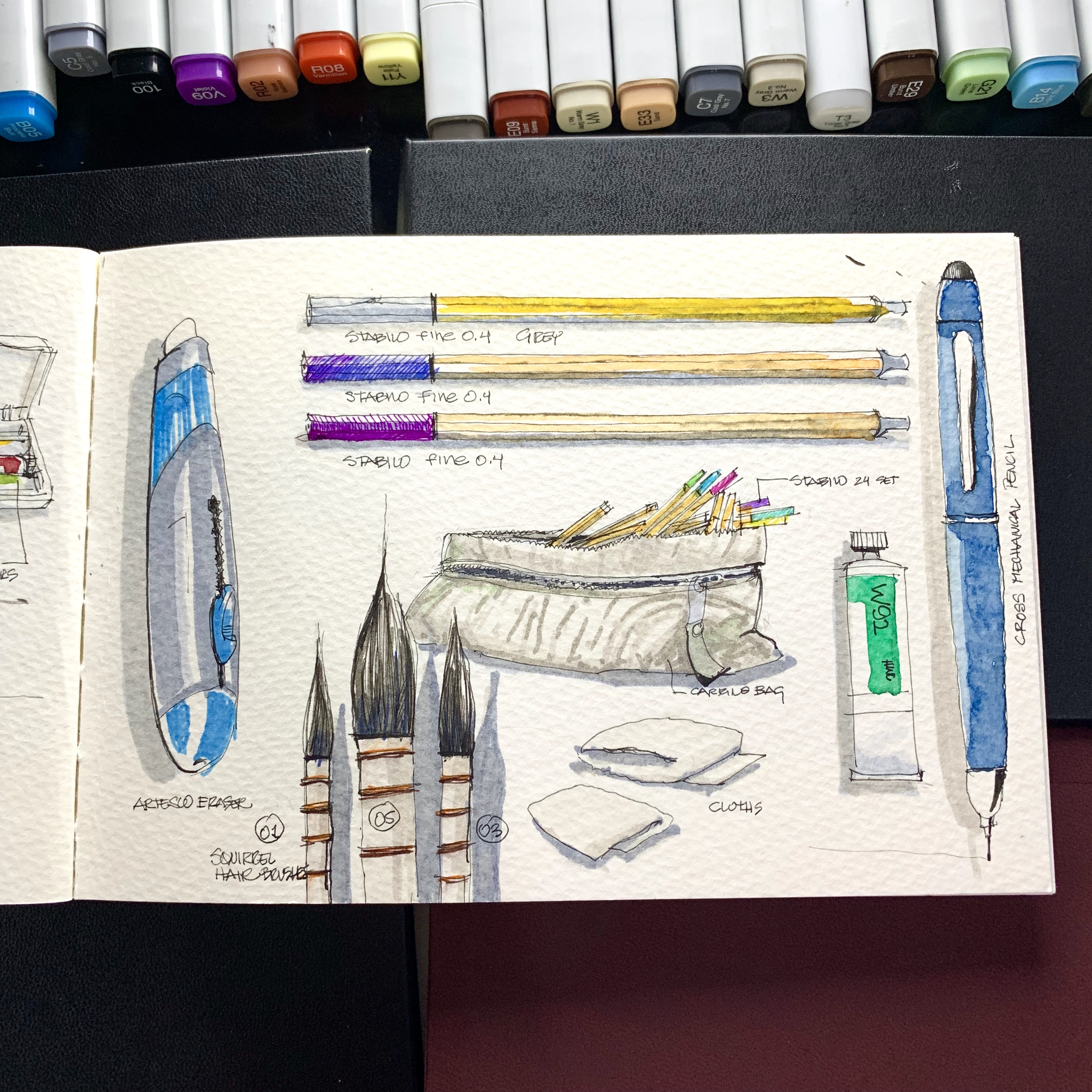 Sketchbook over desk with work tool sketches