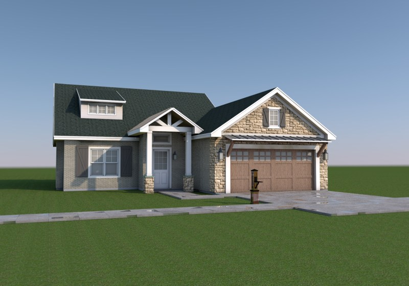Farmhouse Front view - Tyler - House Design