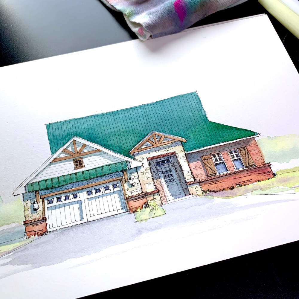 Brick and Stone House Sketch Art