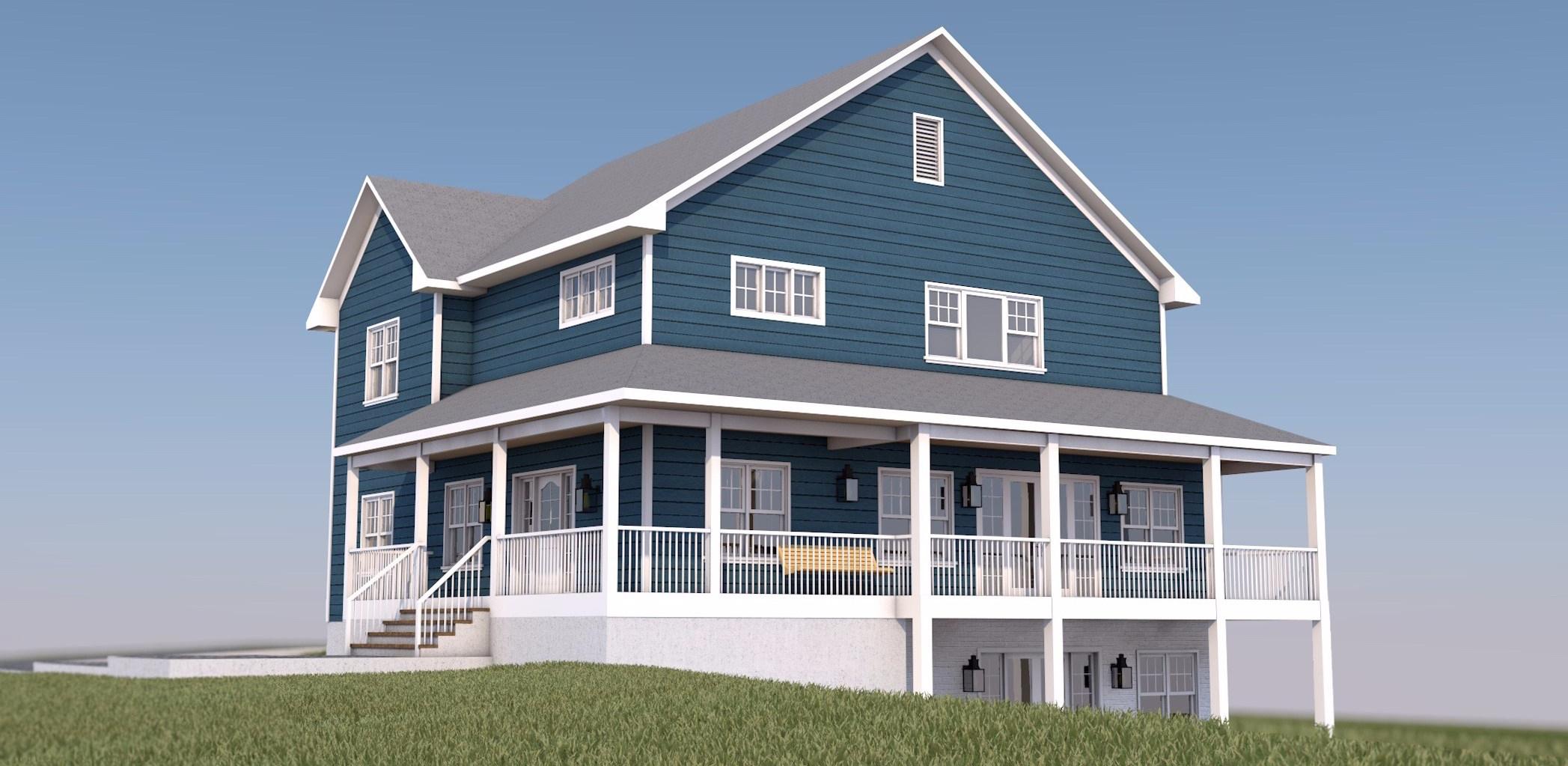 House at a Golf Club - 2 Floor Farmhouse 3D view