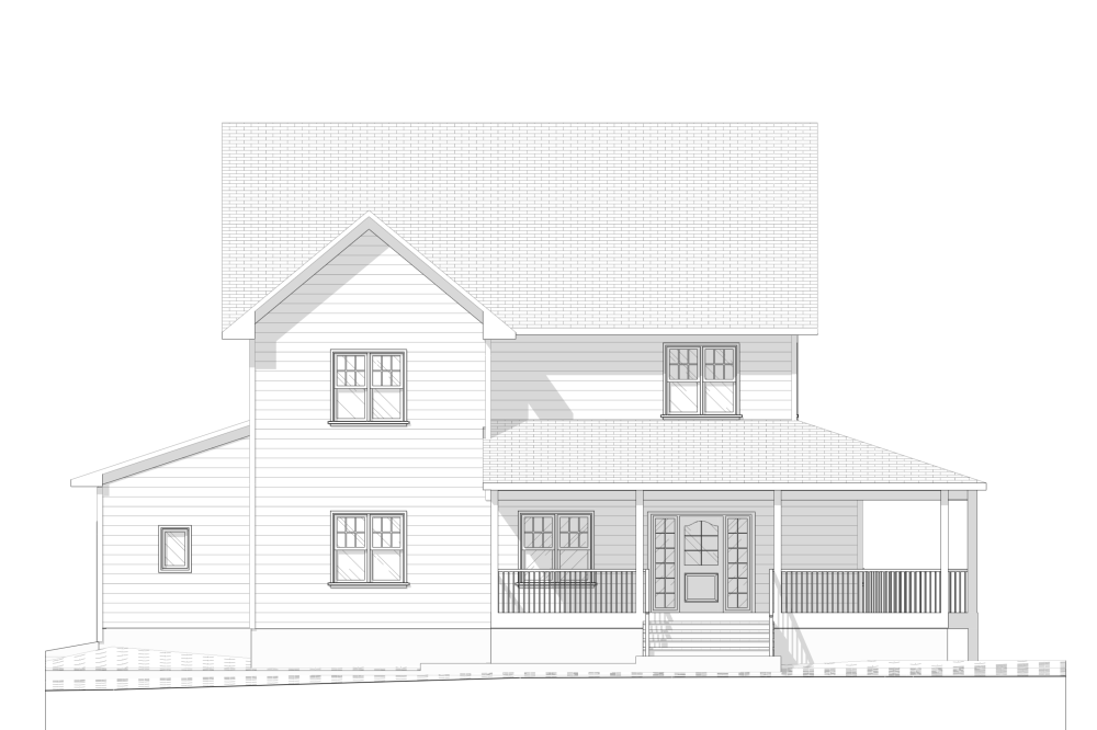House at a Golf Club - Farmhouse Front Elevation plan